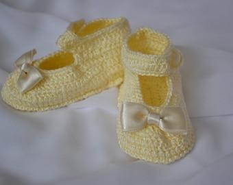 Luce giallo bambino scarpe, Crochet bambino scarpe, neonato e bambino, scarpe per bambini, Baby shower regalo