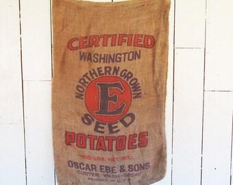 """Vintage Washington State Potato Sack - Burlap Bag - Gunny Sack with """"E"""" Graphics"""