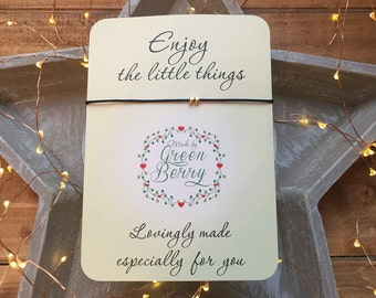 "Two tiny gold tone heart charms String Bracelet on ""Enjoy the little things"" quote card madebygreenberry wish bracelet"