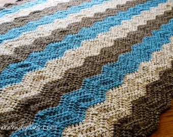 Custom Chevron Ripple Afghan - Trendy - Retro - Baby Blanket - Toddler Blanket - Throw Blanket - You Choose Colors - Made to Order
