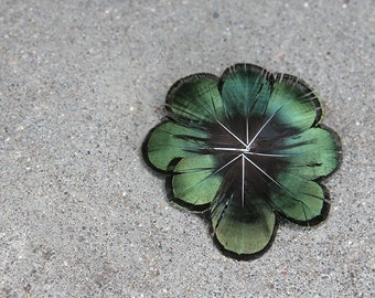 Emerald Pheasant Feather Boutonniere Brooch