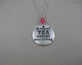 CLEARANCE - A Cup of Tea Solves Everything Charm Necklace - Silver