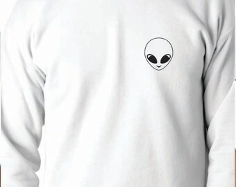 Alien Sweatshirt 50/50 Crewneck Sweatshirt, Funny Saying Printed 50/50 Crewneck Sweatshirt