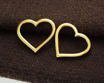 2 of 925 Sterling Silver 24k Vermeil Style Heart Links, Connectors 12.3x14.mm. :vm0549