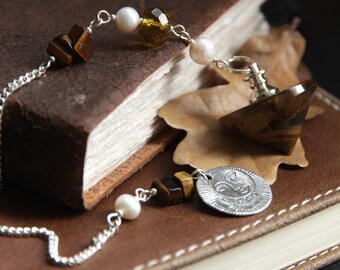 Tigers Eye Pendulum. Fresh Water Pearl Pendulum. Divination Tool. Dowsing Pendulum. Spirituality Tool. New Age Healing Pendulum.