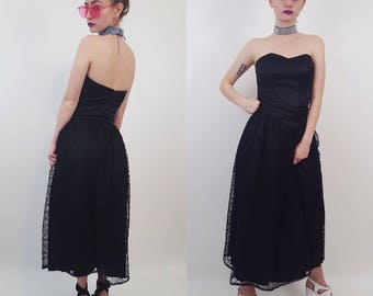 90s Handmade Black Strapless XS Midi Dress with Sheer Lace Skirt - Vintage Womens XSmall Vintage Goth Prom Dress with Sweetheart Neckline