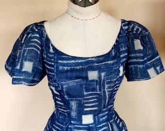 1950s designer Blauner Dress for J Magnin of Voile over Organza