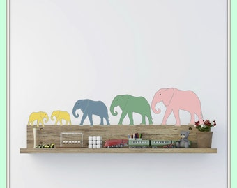 FREE SHIPPING Wall Decal 11 Elephants Pastel Colors . Nursery Wall Decal. Diy Wall Decal. Wall Paper. Wall sticker, Wall Art.
