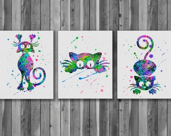 Cats Watercolor Print, Cats Art, Cat Painting, Animal Art, Nursery, Kids Room Decor, Wall Art