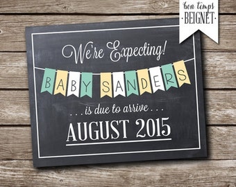 Printable Pregnancy Announcement - We're Expecting - Chalkboard Pregnancy - Pregnancy Announcement -  Pregnancy Reveal - New Baby