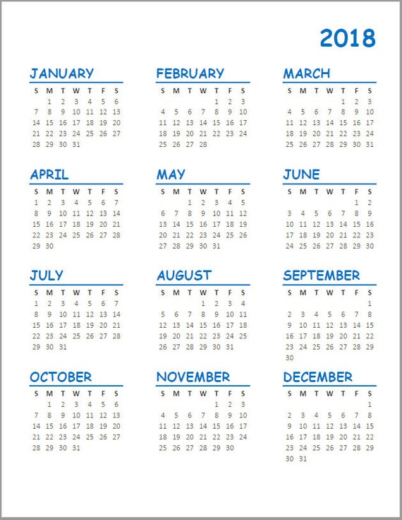 year to a page calendar