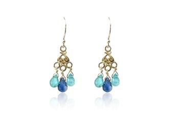Silver blue earrings chandelier blue stones earrings blue gemstone earrings boho earrings drops apatite wedding earrings wedding jewelry