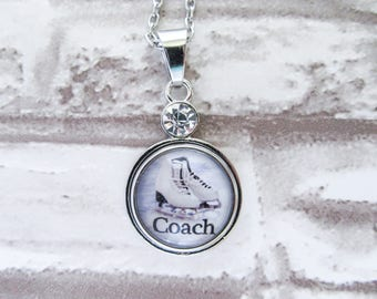 FIGURE SKATING COACH Necklace Ice Skating Charm Jewelry Gift for Skaters and Coaches