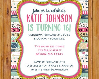 Aztec Tribal Birthday Party Invite Preteen Adult 13th 16th Any Age Baby Shower Pink Blue Invitation Printable 5x7  Digital JPG File (533)