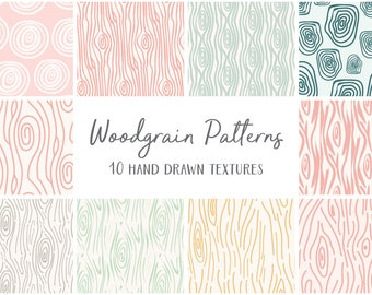 Seamless Woodgrain Patterns Digital Papers
