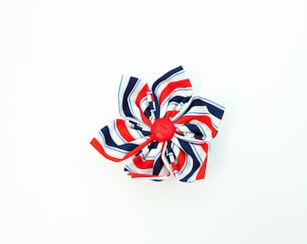 Red White Blue Stripe 4th of July Independence Day Dog or Cat Collar Flower Bow