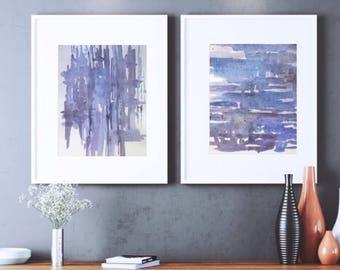 Abstract Watercolor Print Set, Blue painting, matching wall art, original modern art set, Contemporary art, neutral minimalist