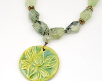 Green lotus blossom necklace with semiprecious prehnite beads, brass, 18 inches long 51cm