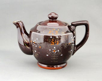 Vintage Japan Redware Brown Betty Tea Pot Raised Moriage Enameled Flowers