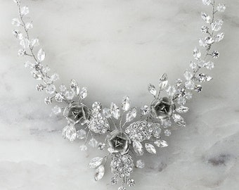 Rose Design Bridal Crystal necklace and earrings set #10121742