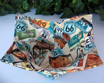 Microwave Bowl Cozy, RV Campers, Route 66 Fabric, Bowl Cozy, Finger Saver, Hot Pad, Cold Pad, Camping Trip, Summer Party, Pot Holder, Trivet