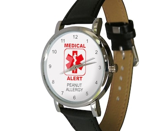 Medical Alert Watch - Peanut Allergy. Medical alert medication. Adult Size