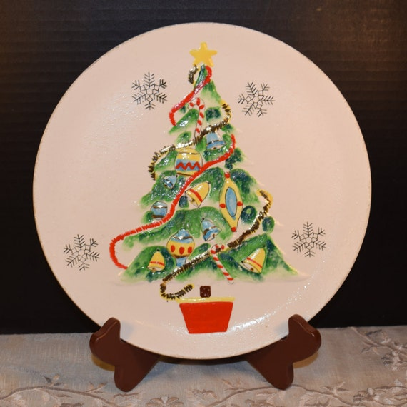 Christmas Tree Norcrest Plate Vintage Norcrest Japan 3D Christmas Tree Hanging Plate Made In Japan Christmas Decoration Kitsch Holiday Decor