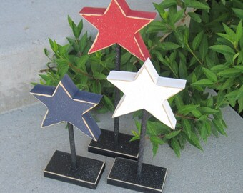 3 TALL STANDING STAR block set for July 4th, Independence day, shelf, desk, office and americana home decor