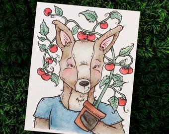 Deer Illustration, Woodland Animal Art, Deer Watercolor, Tomato Illustration, Tomato Plant, Food Illustration, Kitchen Art, Kitchen Decor