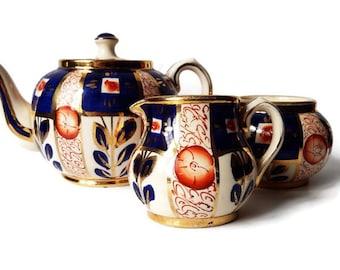 Antique Sudlow's Burslem China Tea Set, Teapot, Creamer, Sugar Bowl/ Blue Orange China/ Pattern 0169/ Replacement China