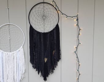 XL Obsidian Black Dream Catcher with Gold Glittered Feathers