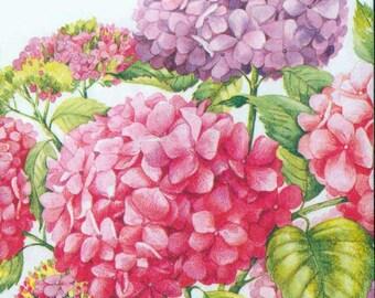 Paper Napkins   Pink & Purple Hydrangeas   Party Napkins   Lunch Napkins   Floral Napkins   Hydrangea Napkins   Paper Napkins for Decoupage