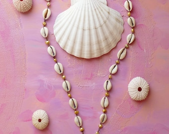Tulum cowrie shell, freshwater pearl and vintage chandelier glass necklace