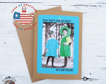 Vintage Friendship Greeting Card- You're Heart and My Heart are Old Friends-  Kraft Card Stock- Blank Inside- FREE US SHIPPING
