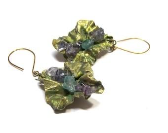 Leaf Earrings Hand Painted Gemstone Earrings Fold Folded Earrings Earthy Earrings Leaf Earrings Organic Earrings gift for her