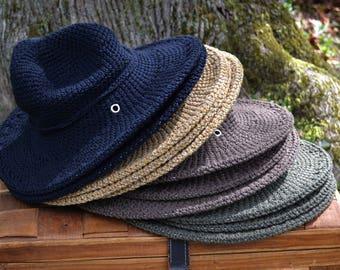 Sun Hat, Organic Cotton Hat, Womens Hats, Winter Hats for Women, Hat with Brim, Hiking Gear, All seasonal Hat, Made USA, Rustic Folk Style