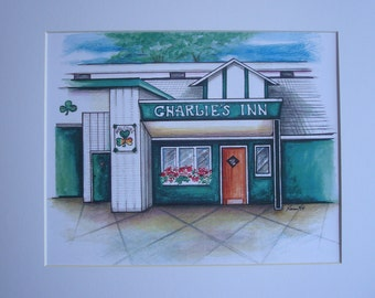 Charlie's Inn, by Karen Paciullo, 2014, Throggs Neck, Bronx, NY,  ready to frame art print