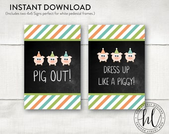 Three Little Pigs Party Signs | Three Little Pigs Birthday Signs | Boy Birthday Signs | Pig Party Signs | Pig Out Signs