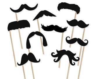 Printable Mustache Photo Booth Props - Mustache Photobooth Props - Moustache Printable Props - Little Man Party - Mustaches on a Stick