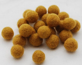 1.5cm Felt Balls - Dark goldenrod - Choose either 25 or 100 felt balls