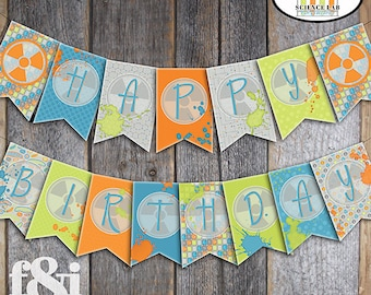 Science Bunting Banner | Science Party Banner | Science Birthday Party Decoration | Mad Science Banner | Chemistry Party Banner | Printable