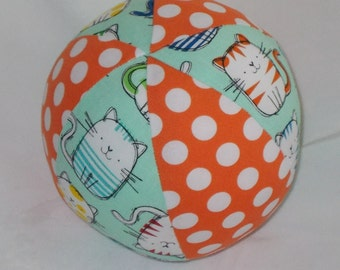 Mint Cat Fabric Boutique Ball Rattle Toy