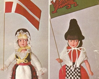 Patons 9926 Vintage Knitting Patterns for 9in Doll - Welsh Miss and Danish Girl