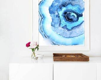 Agate Slice Painting, Large Watercolor Art Print, Gemstone Print, Blue Teal Navy, Geode Abstract, Watercolor Agate, Yoga Art, Bedroom Decor