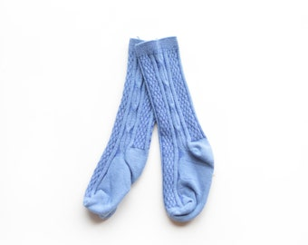 Royal Blue Knee High Socks. Hand Dyed Cotton Socks. Cable Knit Knee High Socks for Babies, Toddler and Girls