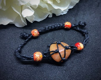 Macrame Handmade gemstone holder-cage bracelet adjustable interchangeable