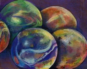 original art drawing color pencil marbles 7.5x9.5 unframed