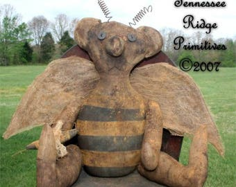 Tennessee Ridge Primitives  Bumblebee Bear Doll With Wings - Pattern only