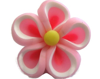 Pink Polymer Clay Flowers 20mm Beads Set of 4 (H10)