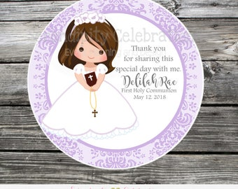 Printable Holy Communion Favor Tags, DIY Digital First Holy Communion Tags, DIY Communion Stickers, Shabby Chic Communion Favor tags, purple